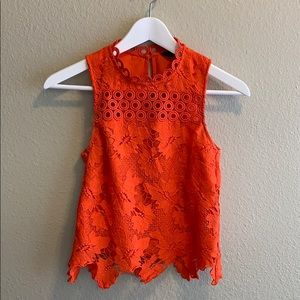 Topshop Crochet Lace Shell Top
